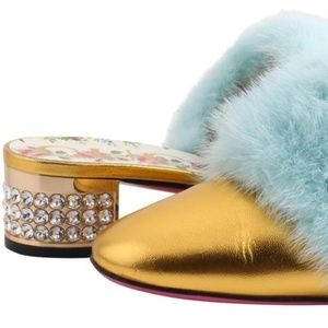 Gucci Candy Leather & Mink Fur Embellished Mule Pu